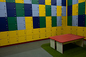 Children cabinet lockers. Lots of fun colorful lockers for shoes with clasps