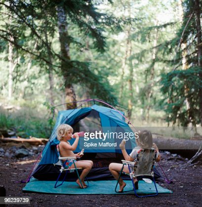 Children camping : Stock Photo