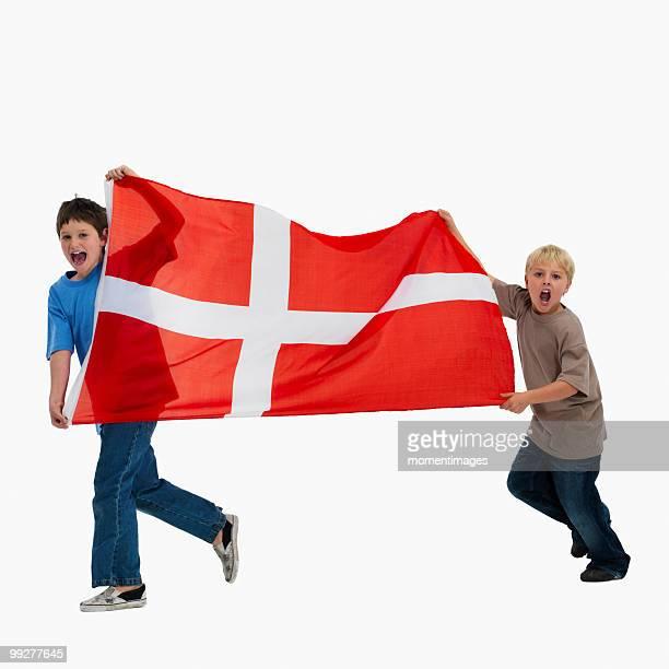 Children carrying flag