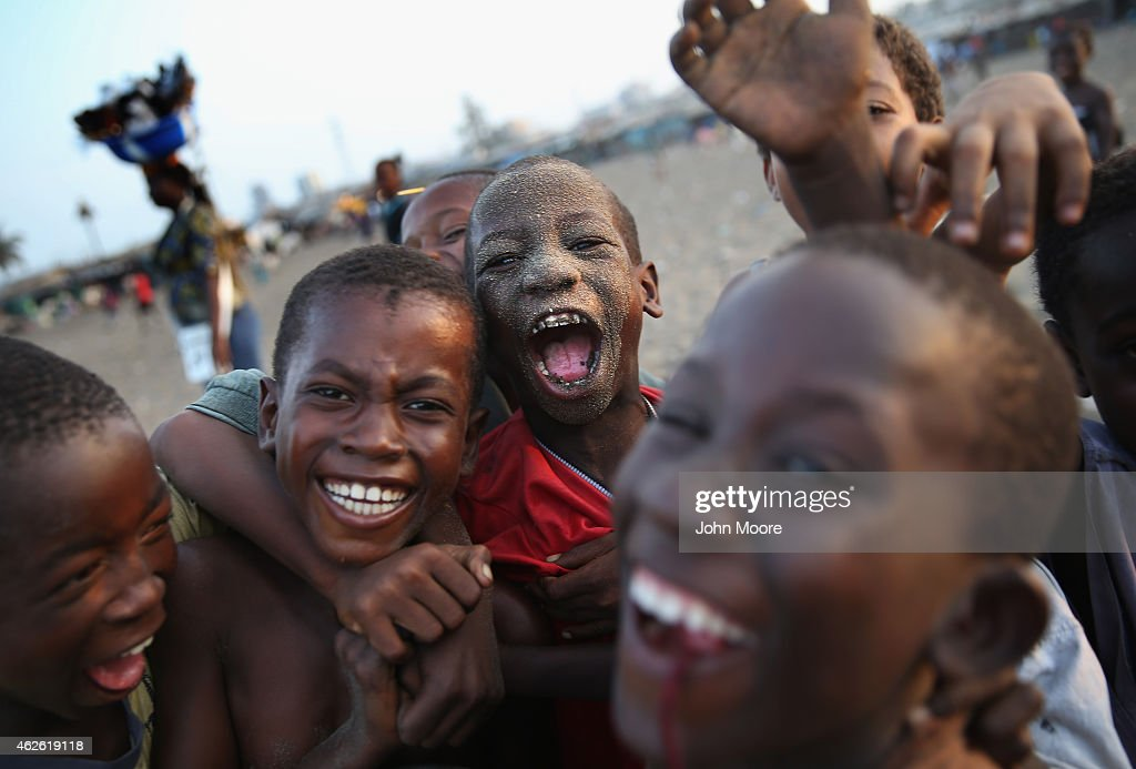 Children celebrate a soccer goal while playing in the West Point township on January 31 2015 in Monrovia Liberia The Liberian government says there...