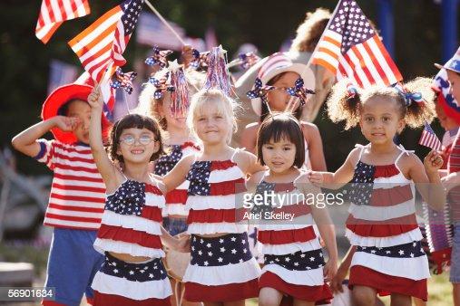 Children celebrating Fourth of July : Stock Photo