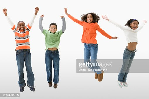 Children Cheering And Jumping Stock Photo | Getty Images