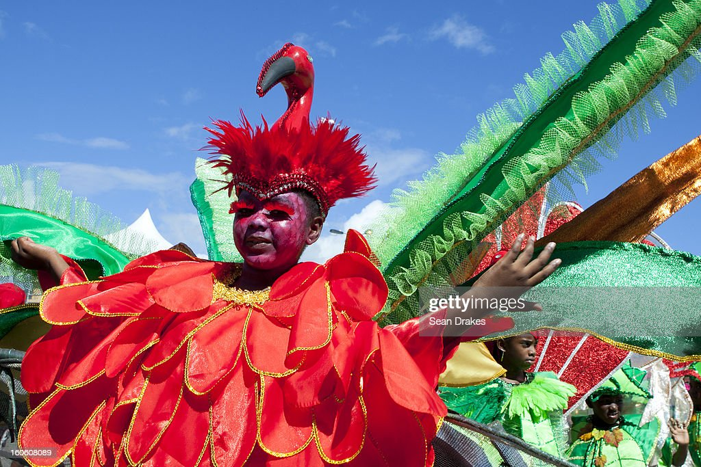 Children dance during the Red Cross Children's Carnival at Queen's Park Savannah on February 02, 2013 in Port of Spain, Trinidad.