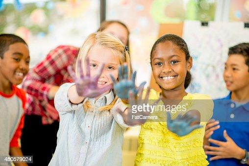 Children doing Hand Painting