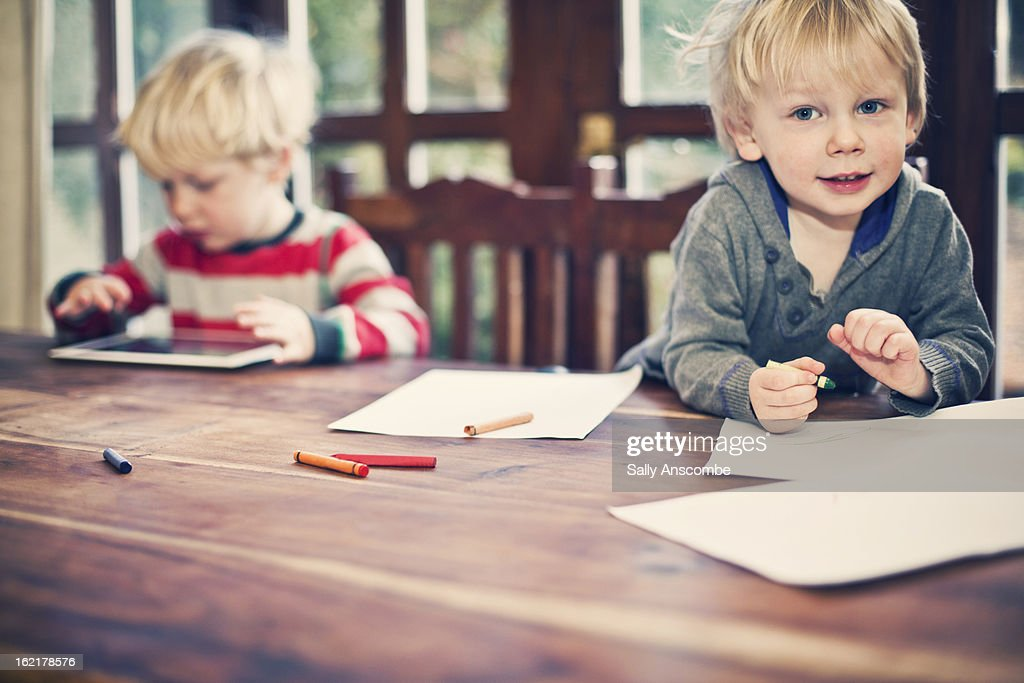 Children drawing pictures. : Stock Photo