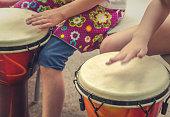 Action Music Shot Of Children Drumming