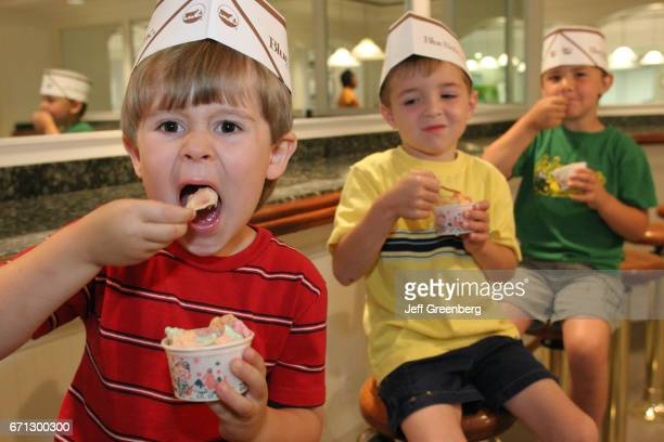 Children eating ice cream at Blue Bell Creameries