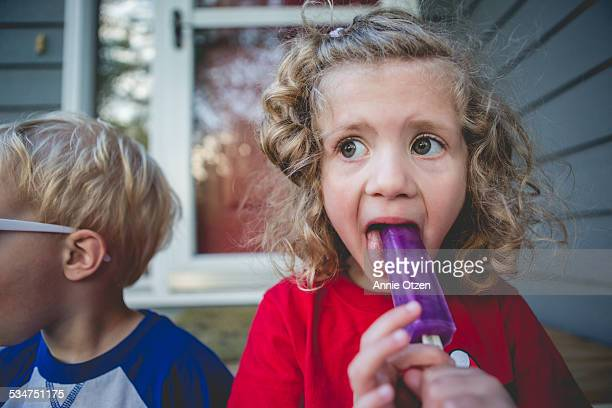 Children Eating Popsicle