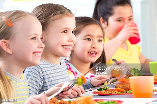 Children Eating School Dinners