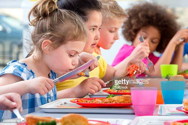 Children Eating School Dinners