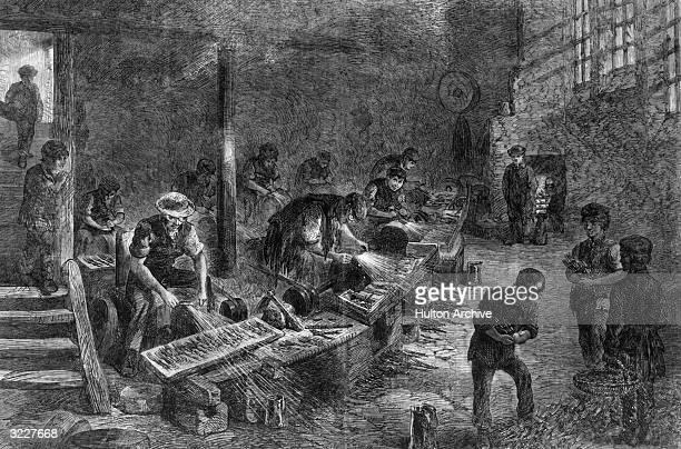 Children employed at a Sheffield fork factory Original Artwork Engraving by J Palmer Original Publication Illustrated London News pub 1866