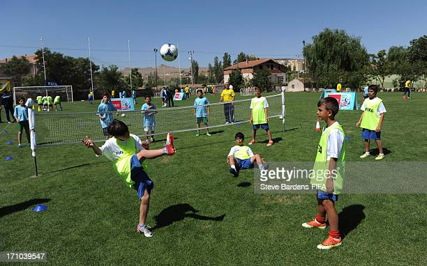 Children enjoy a FIFA Grassroots activity session on June 21 2013 in Nevsehir Turkey