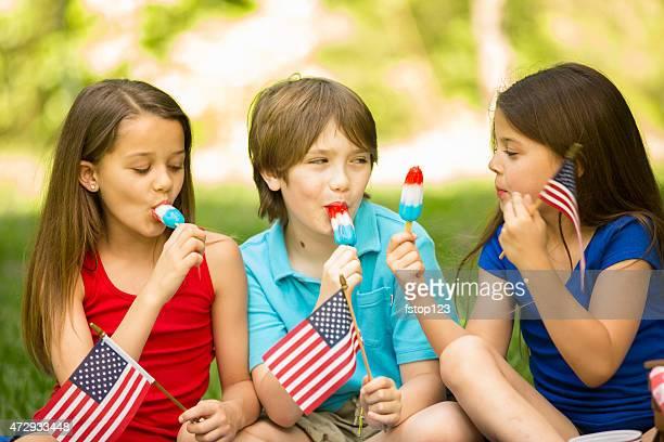 Niños disfrutan del 4 de julio de un picnic en el verano.   American flags, paletas heladas.
