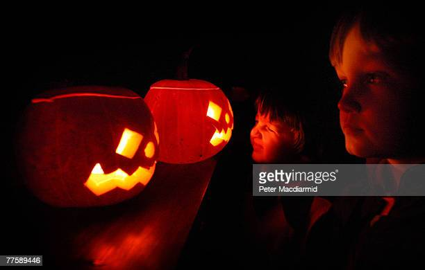 Children enjoy traditional candlelit Halloween pumpkins on October 31 2007 in London