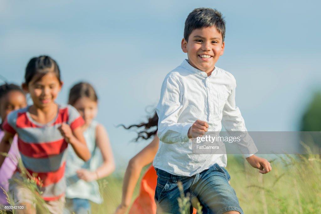 Children Enjoying Nature : Stock Photo