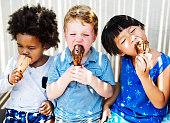 Children enjoying with ice cream