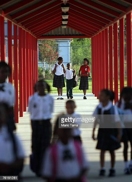 Children enter on the first day of school for the kindergartners at Dr Martin Luther King Jr Charter School for Science and Technology in the Lower...