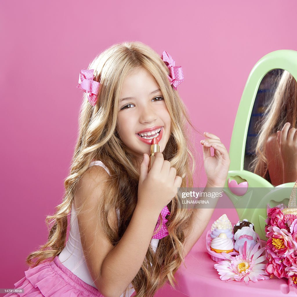 Children Fashion Doll Little Girl Lipstick Makeup Pink Vanity : Stock Photo