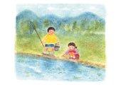 Children fishing at river, Illustration