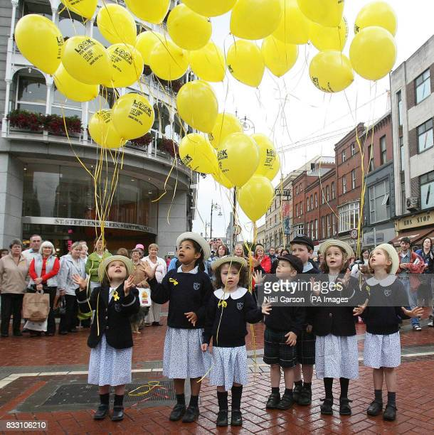 Children from Hedley Park Montessori school release 50 balloons into the sky above Dublin today to mark the 50th day since the disappearance of...