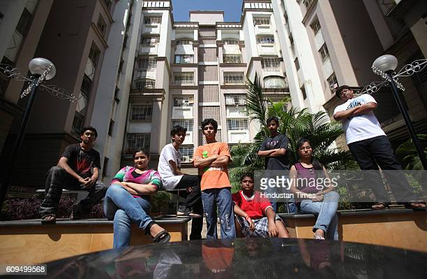 Children from Prithvi Palace complex standing at their non fire cracker area Dahisar Children from Prithvi Palace complex dont like firecrackers
