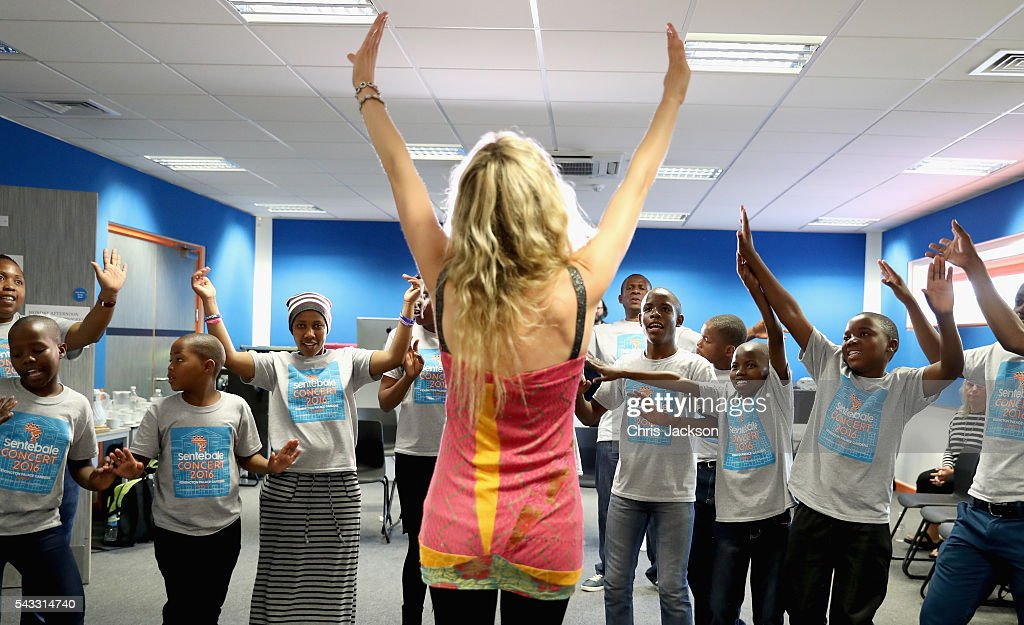Children from the Basotho Youth Choir, made up of six boys and six girls, aged between 7 and 19 years old, rehearse with <a gi-track='captionPersonalityLinkClicked' href=/galleries/search?phrase=Joss+Stone&family=editorial&specificpeople=201922 ng-click='$event.stopPropagation()'>Joss Stone</a> at the Brit School on June 27, 2016 in London, England. The Basotho Youth Choir will perform alongside Sentebale Ambassador <a gi-track='captionPersonalityLinkClicked' href=/galleries/search?phrase=Joss+Stone&family=editorial&specificpeople=201922 ng-click='$event.stopPropagation()'>Joss Stone</a> at tomorrow's Sentebale Concert at Kensington Palace, headlined by Coldplay. The choir members have all been supported by Sentebale's Secondary School Bursaries Progamme or Care for Vulnerable Children Programme. The Bursaries Programme covers the cost of school fees, uniforms and books for some of Lesotho's most disadvantaged children.