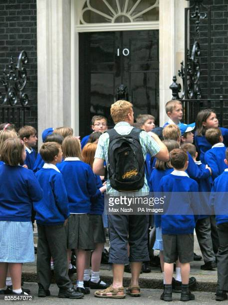 Children from the Goosewell primary school in Plymouth visit Prime Minister Gordon Brown's London residence 10 Downing Street on what is a busy day...