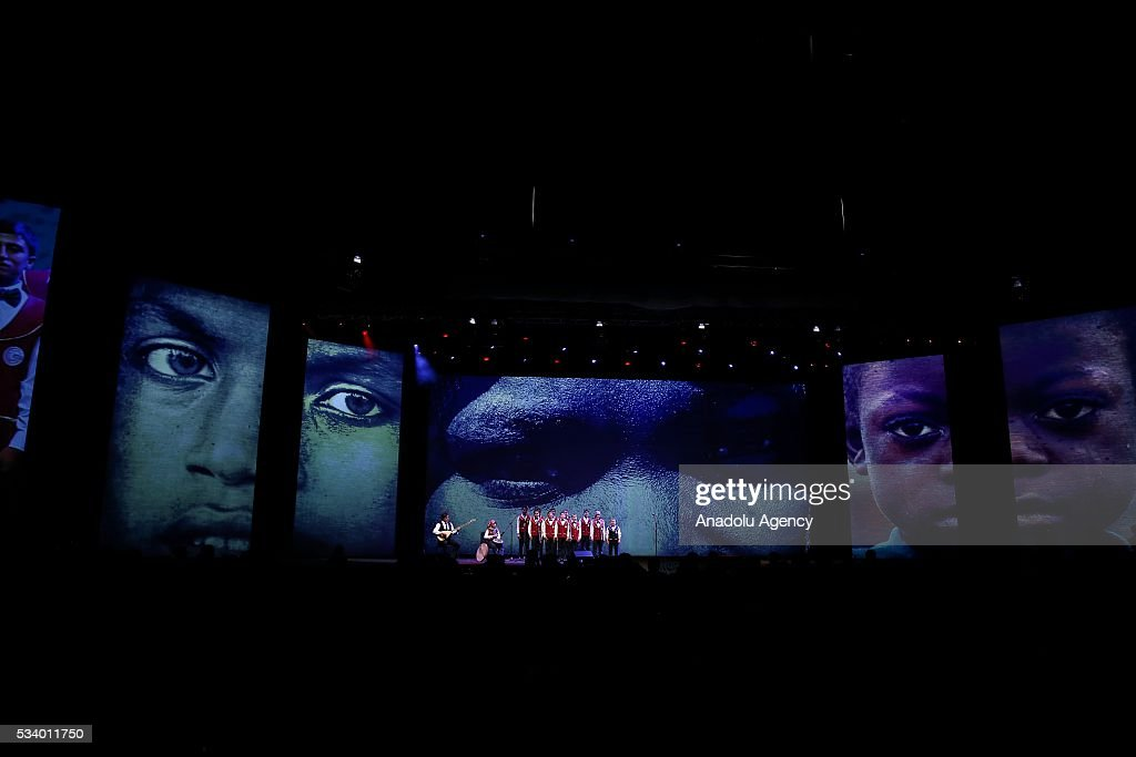 Children from Turkey's Adiyaman perform during the closing ceremony of World Humanitarian Summit at Istanbul Congress Center, in Istanbul, Turkey on May 24, 2016.