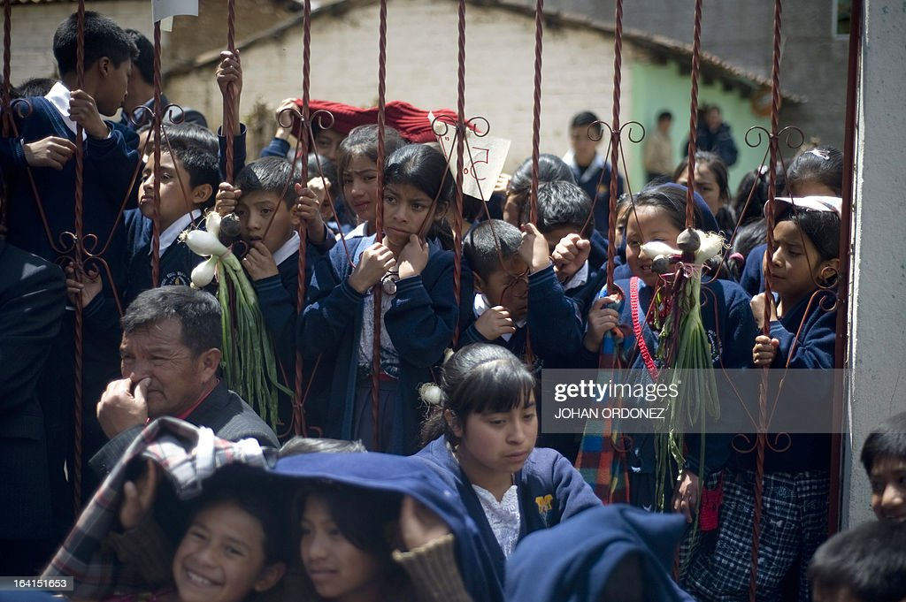 Children gather during a visit of Tony Lake Executive Director of the United Nations Children's Fund during a visit to the Paqui village Totonicapan...