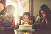 children gathered around boy with birthday cake