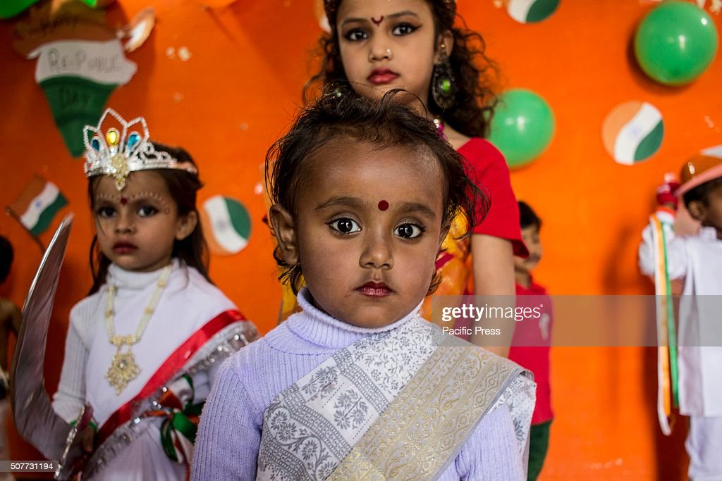 Children gathered to celebrate 67th republic day in tarang pre school