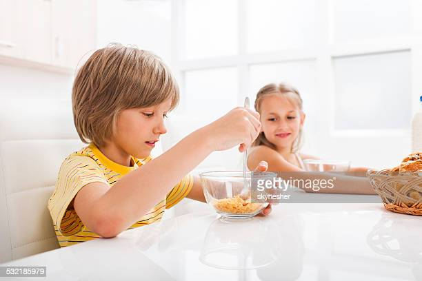 Children having breakfast.