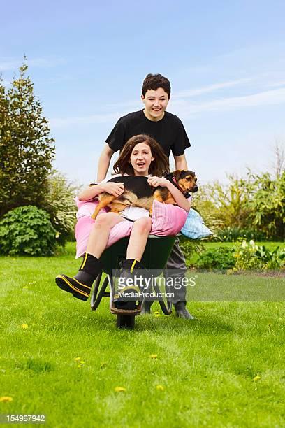 Children having fun in garden