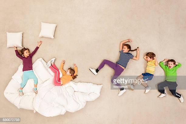 Children having pillow fight