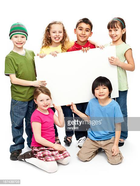 Children Holding a Blank Sign (Isolated)