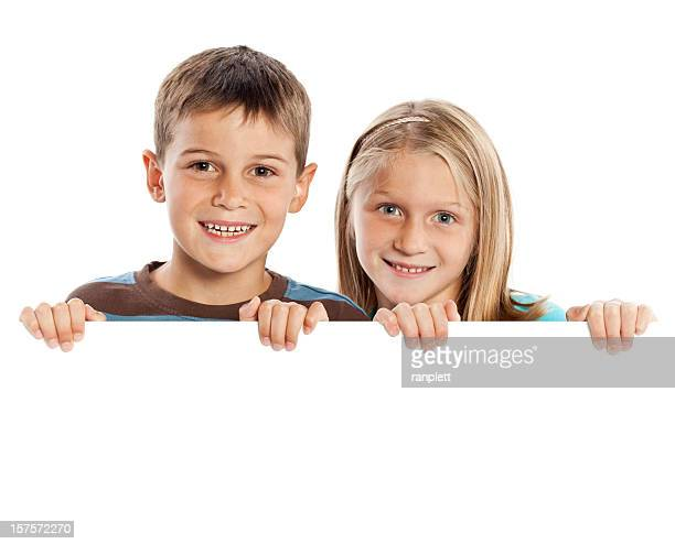 Children Holding a Blank Sign (Isolated; XXXL)