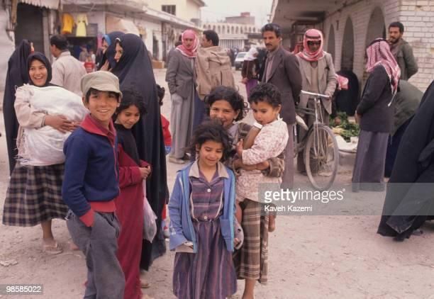 Children in a busy market place in Baghdad 22nd February 1991