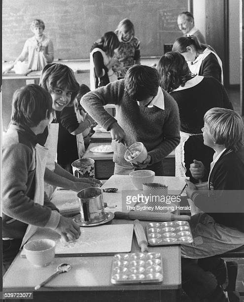 Children in a cooking class at The Entrance High School Tuggerah 18 June 1981 SMH Picture by STUART MacGLADRIE