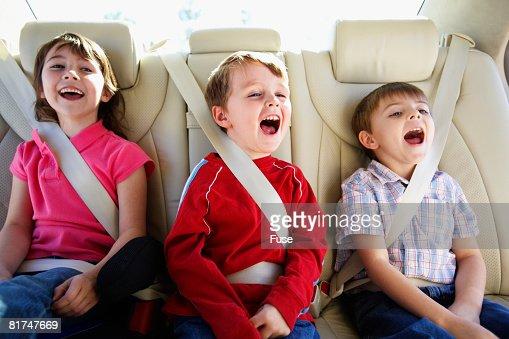 Children in Back Seat of Van