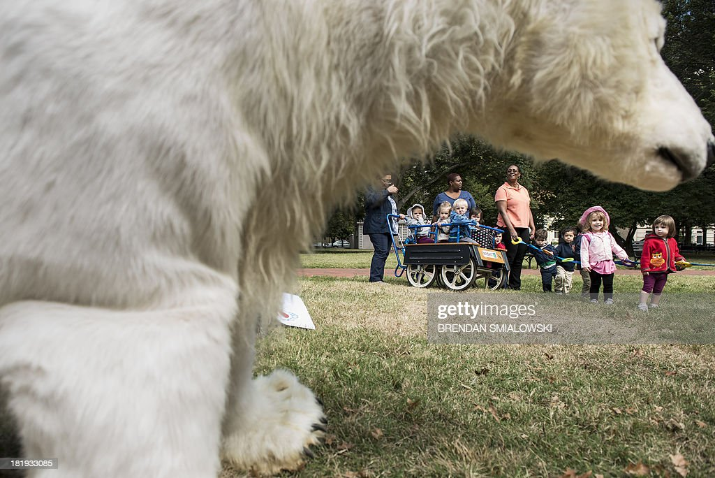 Children in daycare look toward a polar bear costume before a protest in Lafayette Park September 26, 2013 in Washington, DC. Environmental activists gathered to protest the practice of arctic drilling and pressure the Obama administration to do the same. AFP PHOTO/Brendan SMIALOWSKI
