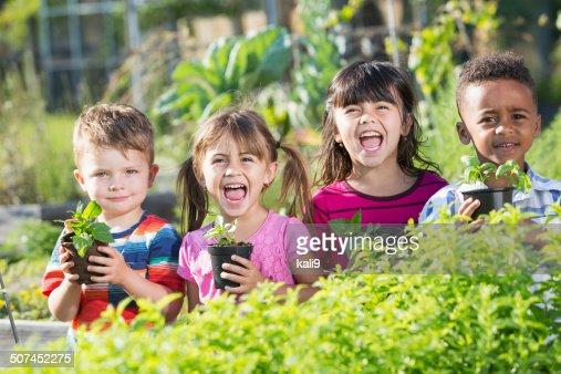 Children in garden holding seedlings