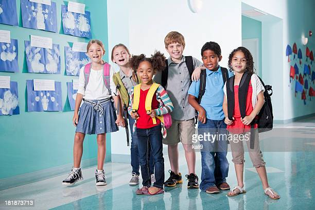 Children in school hallway