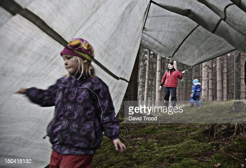 Children in the forest Kindergarten : Stock Photo