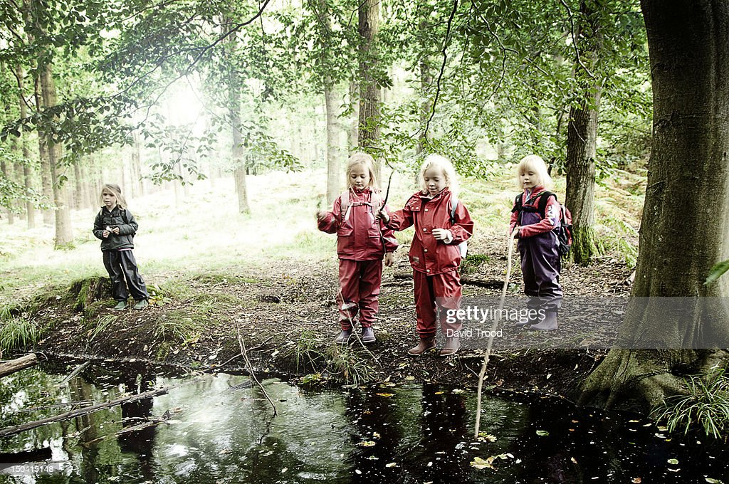Children in the forest : Stock Photo