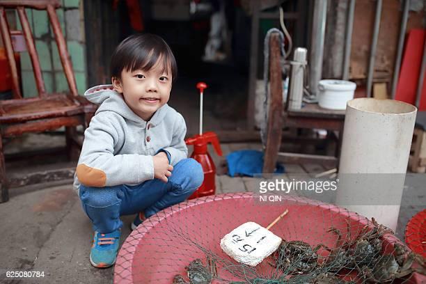 Children in the vegetable market