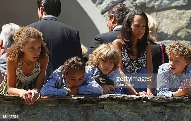 Children including Elias Becker son of former tennis star Boris Becker emerge from the Segantini Museum after Becker married Sharlely Kerssenberg in...
