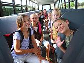 Children inside school bus