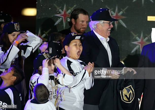 Children join majority owner Bill Foleym as he unveils new logo and name for the Vegas Golden Knights in Toshiba Plaza at TMobile Arena November 22...