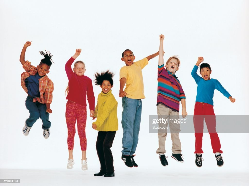 Children jumping in air : Stock Photo