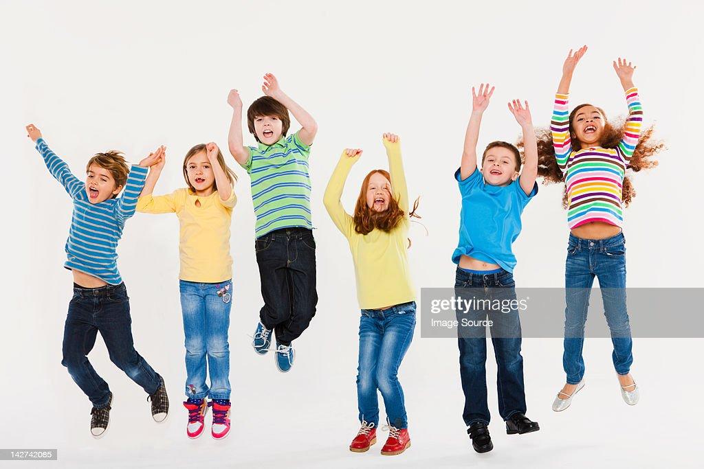 Children jumping : Stock Photo